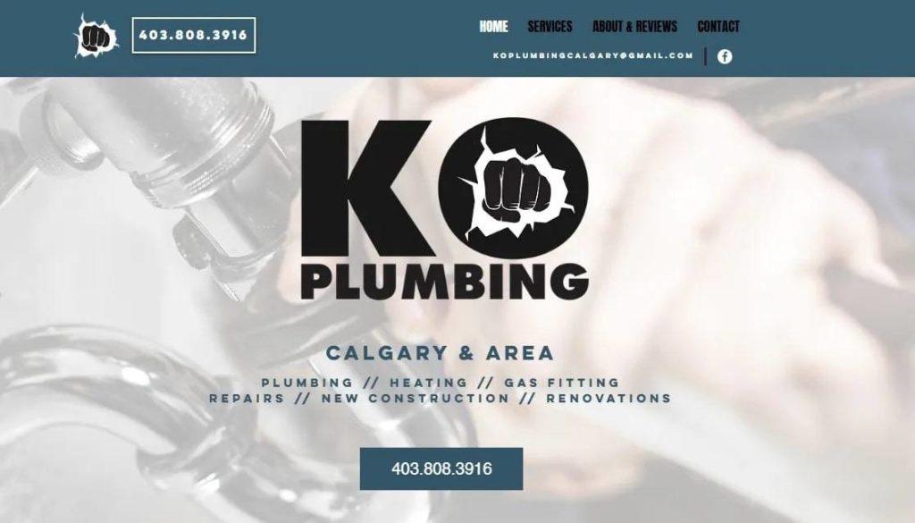 KO Plumbing Calgary's Homepage