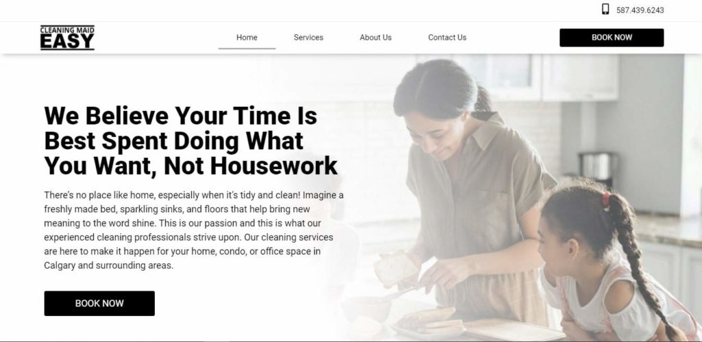 Cleaning Maid Easy's Homepage