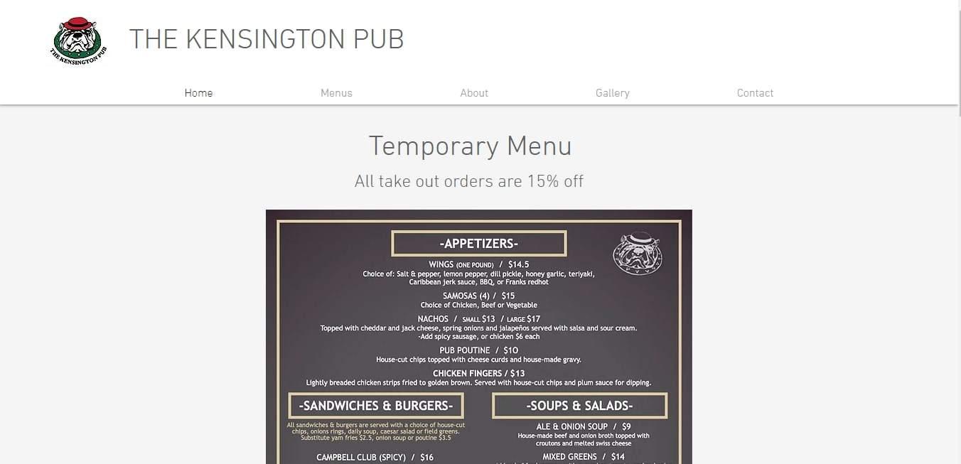 Kensington Pub's Homepage