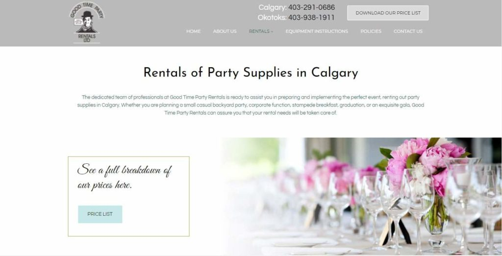 Good Time Party Rentals' Homepage